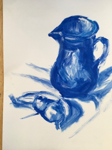 Still life in acrylics. The point was not to get it perfect but get an impression of form and tone quickly